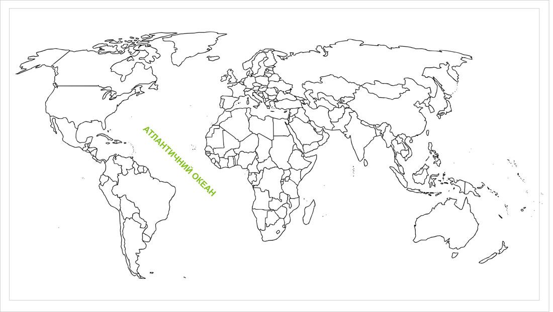 Атлантичний океан на карті світу, де знаходиться Індійський океан географічне положення розташування